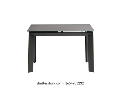 folded dark gray iron table with glass top, side view, isolated on white background. modern gray glass table for office or home intterior.