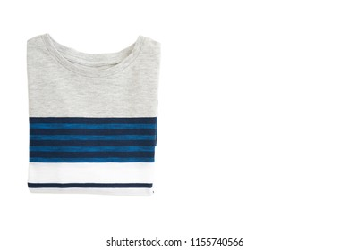 Folded fashion baby-boy T-shirt isolated on white background for spring and autumn wardrobe/ Baby clothes/ Close-up/ Flat lay/ Top view