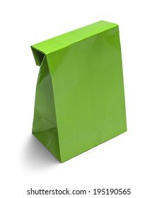 Folded Green Paper Bag Lunch with Copy Space Isolated on White Background.