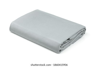 Folded grey cotton bedding sheets isolated on white