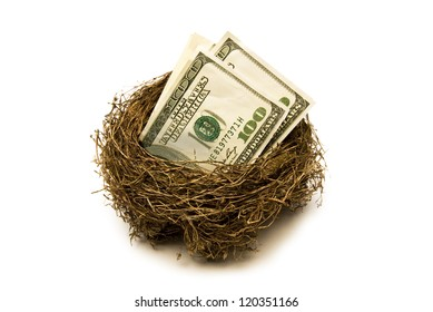 Folded hundred dollar bills put away for retirement.  Everyone needs a little nest egg.