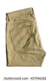 Folded khaki pants isolated over white