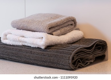 Folded kitchen towels close-up