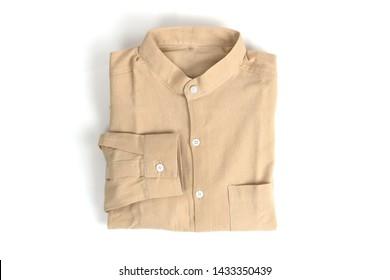 Folded mandarin collar cream linen shirt. Isolate on white background