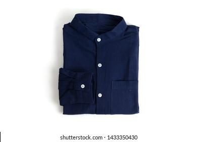 Folded mandarin collar navy linen shirt. Isolate on white background