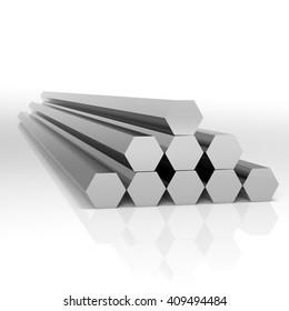 Folded metal beams hexagonal shape at white background