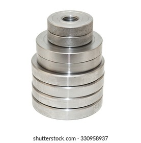 Folded metal discs on a white background