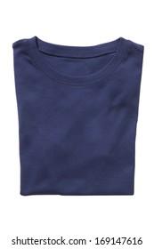 Folded navy t-shirt isolated on white