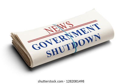 Folded Newspaper With Headline Government Shutdown Isolated on White.