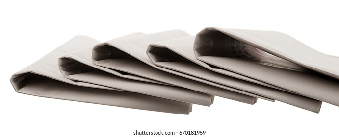 Folded Newspapers Isolated
