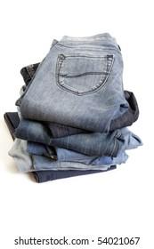 Folded Old Blue Jeans