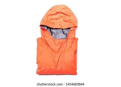 Folded orange color zipper windbreaker jacket