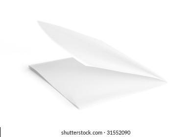 Folded Paper on White Background