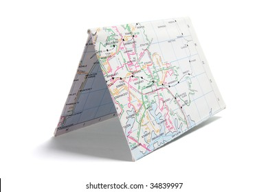 Folded Paper Street Map on White Background