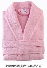 Folded pink bathrobe,clipping path.