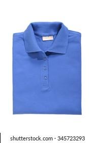 folded polo shirt royal blue isolated on white