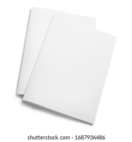 Folded sheets of white paper, isolated on white background