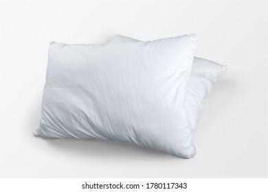 Folded soft cozy white pillows