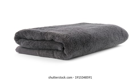 Folded soft terry towel isolated on white
