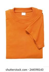 folded t shirt orange isolated on white