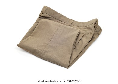 folded trousers isolated on a white background