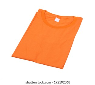 folded t-shirt isolated on white background (with clipping path)