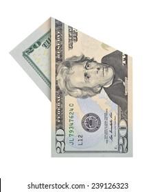 Folded twenty dollars bill isolated on white background