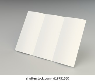 Folded white paper page sheet texture. 3d rendering.