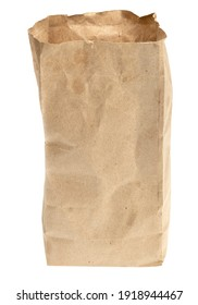 Folder brown paper bag isolated on white background. Recycled paper shopping bag on white background.