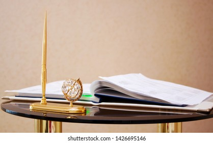 Folder with documents on signing marriage certificate, writing materials. The solemn ceremony of marriage, official Civil Marriage Ceremony