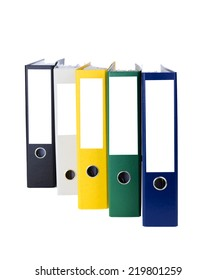 Folder with documents stand in a row for accounting isolated over white background
