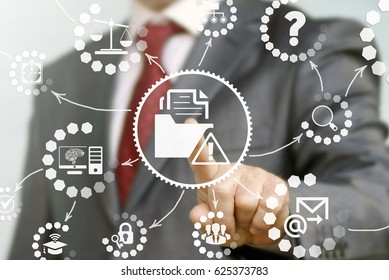Folder file attention data security law justice web computing concept. Man touched icon directory document exclamation triangle. Insurance and safety internet computer personal information technology.