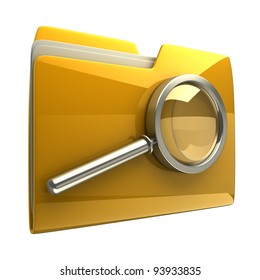 Folder and file search with magnifying glass. 3D icon isolated on white background
