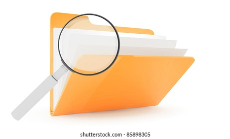 Folder with lens on wite background