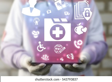 Folder medicine patient history health care web tablet computer concept. Medical document case emr personal information healthy treatment prescription record technology