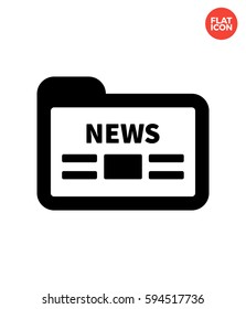 Folder with news Icon Flat Isolated Illustration