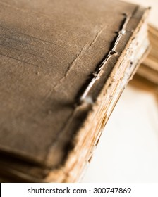 The folder with old paper documents in the archive.