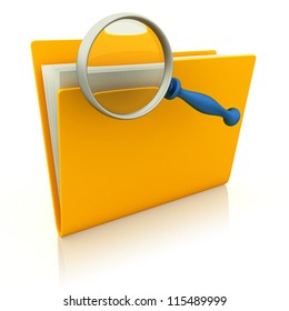 Folder with paper and magnifying glass. 3d render illustration