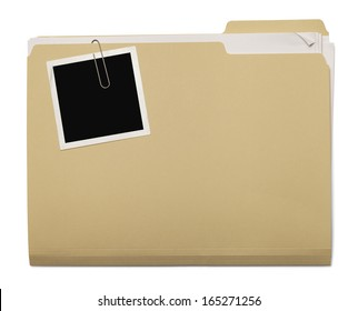 Folder with Papers Stuffed Inside with Photo on Top Isolated on White Background.