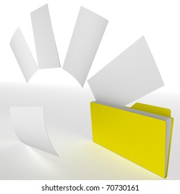 folder of papers from which are emitted paper sheets