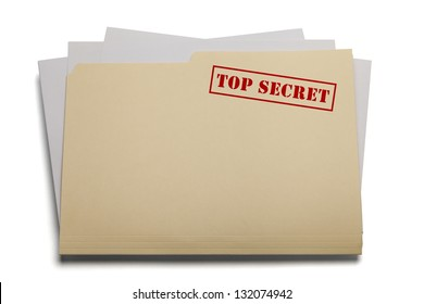 Folder and papers with the words Top Secret stamped on it, Isolated on a white background.