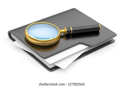 folder search icon - folder under the magnifier. 3d illustration isolated on white