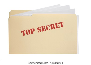 Folder with words top secret on front with white background