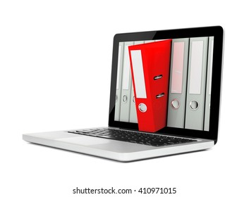 Folders archived in a laptop, white background