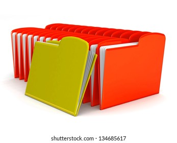 folders with documents isolated on white. 3d illustration.