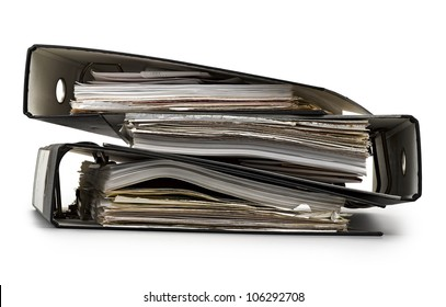 Folders and documents on white background