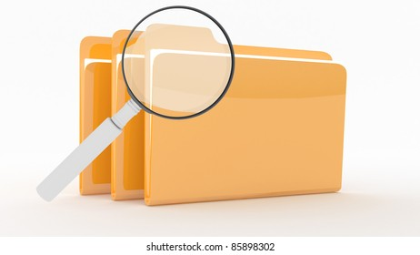 Folders with files on wite background