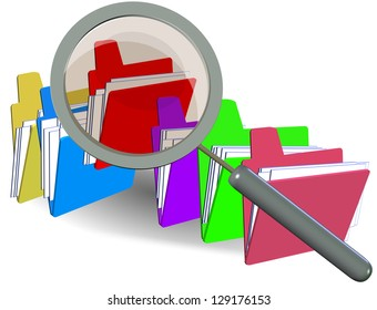 folders focus detect analyze data lens magnify