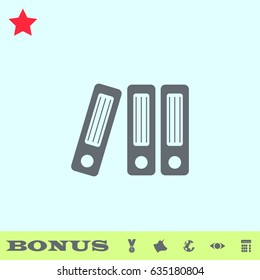Folders icon flat. Simple gray pictogram on blue background. Illustration symbol and bonus icons medal, cow, earth, eye, calculator