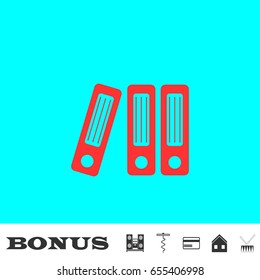 Folders icon flat. Simple red pictogram on blue background. Illustration symbol and bonus icons Music center, corkscrew, credit card, house, drum